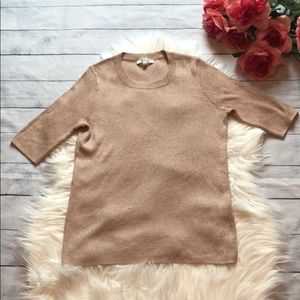 Madewell Rose Gold Sparkle Short-Sleeved Sweater
